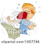 Royalty Free Vector Clip Art Illustration Of A Boxing Glove Punching A Man From A Box by BNP Design Studio