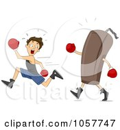 Royalty Free Vector Clip Art Illustration Of A Boy Running From A Punching Bag