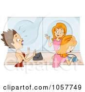 Royalty Free Vector Clip Art Illustration Of A Woman Screaming At A Womans Mis Matched Mirror Reflection by BNP Design Studio