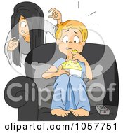 Royalty Free Vector Clip Art Illustration Of A Girl Sneaking Up On Her Brother While He Watches A Scary Movie by BNP Design Studio