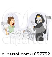 Royalty Free Vector Clip Art Illustration Of A Boy Dressed Up As The Grim Reaper Scaring His Friend