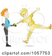 Royalty Free Vector Clip Art Illustration Of A Man Shaking Hands And Shocking His Friend