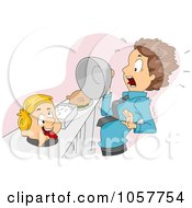 Royalty Free Vector Clip Art Illustration Of A Boy Scaring A Man From Under A Cover At A Buffet Table by BNP Design Studio