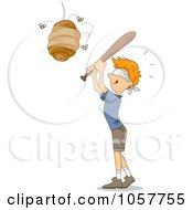 Royalty Free Vector Clip Art Illustration Of A Blindfolded Boy Whacking A Beehive Like A Pinata