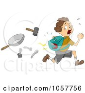 Royalty Free Vector Clip Art Illustration Of A Boy With A Magnet In His Pack Running From Items by BNP Design Studio