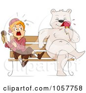 Bear Eating Ice Cream On A Bench By A Scared Boy