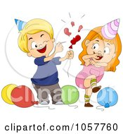 Royalty Free Vector Clip Art Illustration Of A Boy Popping A Party Balloon Behind A Girl