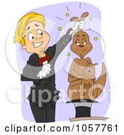 Royalty Free Vector Clip Art Illustration Of A Magician Pulling A Kangaroo Out Of A Hat by BNP Design Studio