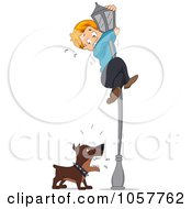 Royalty Free Vector Clip Art Illustration Of A Dog Chasing A Boy Up A Light Pole