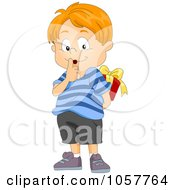Royalty Free Vector Clip Art Illustration Of A Secretive Boy Hiding A Gift Behind His Back
