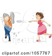 Royalty Free Vector Clip Art Illustration Of A Mad Woman Throwing Plates