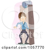 Royalty Free Vector Clip Art Illustration Of A Man Soaked From A Bucket Of Water In A Doorway