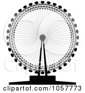 Royalty Free Vector Clip Art Illustration Of A Black Silhouetted London Eye by cidepix