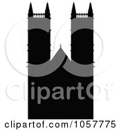 Royalty Free Vector Clip Art Illustration Of The Black Silhouetted Westminster Abbey by cidepix