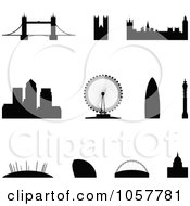 Royalty Free Vector Clip Art Illustration Of A Digital Collage Of Silhouetted London Landmarks by cidepix #COLLC1057781-0145
