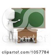 Royalty Free CGI Clip Art Illustration Of A 3d Ivory Man Teacher Presenting A Chalkboard