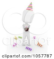 Royalty Free CGI Clip Art Illustration Of A 3d Ivory Man Holding A Cupcake