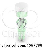 Royalty Free CGI Clip Art Illustration Of A 3d Ivory Man Surgeon In Scrubs by BNP Design Studio