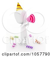 Royalty Free CGI Clip Art Illustration Of A 3d Ivory Man Using A Megaphone At Birthday Party