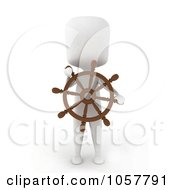 Royalty Free CGI Clip Art Illustration Of A 3d Ivory Man Captain Holding A Steering Wheel by BNP Design Studio