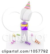 Royalty Free CGI Clip Art Illustration Of A 3d Ivory Man Holding A Birthday Gift