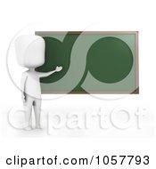 Royalty Free CGI Clip Art Illustration Of A 3d Ivory Man Teacher Presenting A Chalk Board