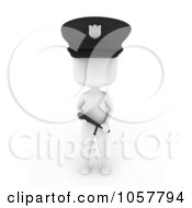 Royalty Free CGI Clip Art Illustration Of A 3d Ivory Police Man Holding A Baton
