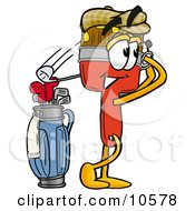 Clipart Picture Of A Paint Brush Mascot Cartoon Character Swinging His Golf Club While Golfing by Toons4Biz
