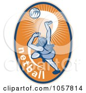 Royalty Free Vector Clip Art Illustration Of A Netball Player Icon 3 by patrimonio