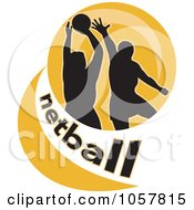 Royalty Free Vector Clip Art Illustration Of A Netball Player Icon 1