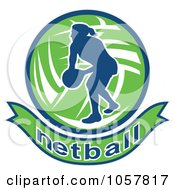 Royalty Free Vector Clip Art Illustration Of A Netball Player Icon 7