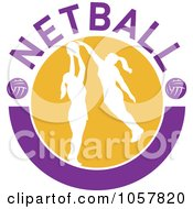 Royalty Free Vector Clip Art Illustration Of A Netball Player Icon 6