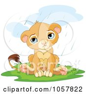 Royalty Free Vector Clip Art Illustration Of A Sad Cute Little Lion In The Rain