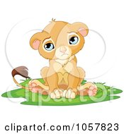 Royalty Free Vector Clip Art Illustration Of A Sad Cute Little Lion