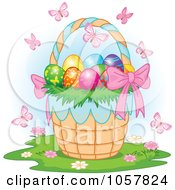 Royalty Free Vector Clip Art Illustration Of Butterflies Over An Easter Basket Full Of Eggs
