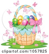 Royalty Free Vector Clip Art Illustration Of A Pink Bow On An Easter Basket Full Of Eggs Surrounded By Butterflies
