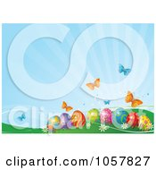 Royalty Free Vector Clip Art Illustration Of A Blue Easter Background With Butterflies Over Eggs In Hills