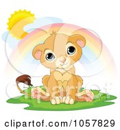 Royalty Free Vector Clip Art Illustration Of A Happy Cute Little Lion Under A Rainbow