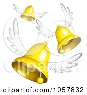 Royalty Free Vector Clip Art Illustration Of 3d Winged Golden Bells Flying