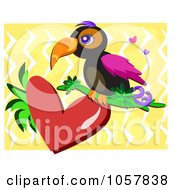 Royalty Free Vector Clip Art Illustration Of A Toucan On A Heart Over Yellow