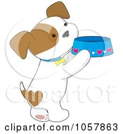 Royalty Free Vector Clip Art Illustration Of A Puppy Standing On His Hind Legs And Holding A Food Dish