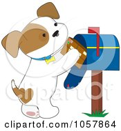 Royalty Free Vector Clip Art Illustration Of A Puppy Putting A Parcel In A Mailbox
