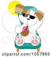 Royalty Free Vector Clip Art Illustration Of A Puppy Wearing Shades And Drinking A Beverage