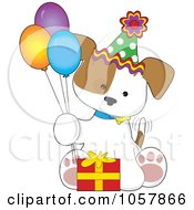 Royalty Free Vector Clip Art Illustration Of A Puppy Sitting With A Birthday Gift And Balloons by Maria Bell