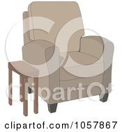 Royalty Free Vector Clip Art Illustration Of A Tan Arm Chair With A Side Table