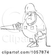 Royalty Free Vector Clip Art Illustration Of A Coloring Page Outline Of A Worker Man Carrying A Saw And Drill