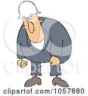 Royalty Free Vector Clip Art Illustration Of A Sad Worker Man Moping