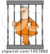 Royalty-Free Vector Clip Art Illustration Of An Angry Prisoner Behind Bars