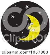 Royalty Free Vector Clip Art Illustration Of A Crescent Moon In A Starry Night Sky Circle