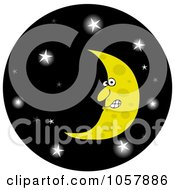 Crescent Moon In A Glowing Starry Night Sky Circle